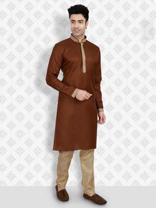 Brown Hued Cotton Kurta Suit For Men