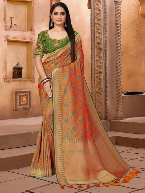 Brown Semi Banarasi Silk Saree For Festival