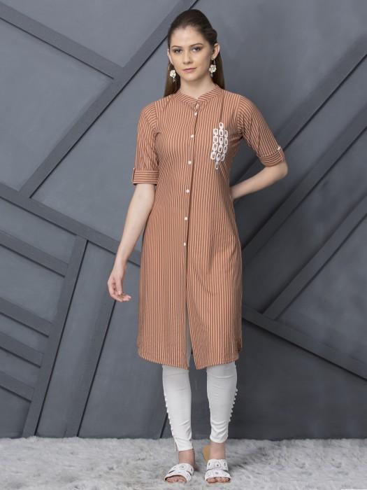 Brown Stripe Casual  Cotton Kurti