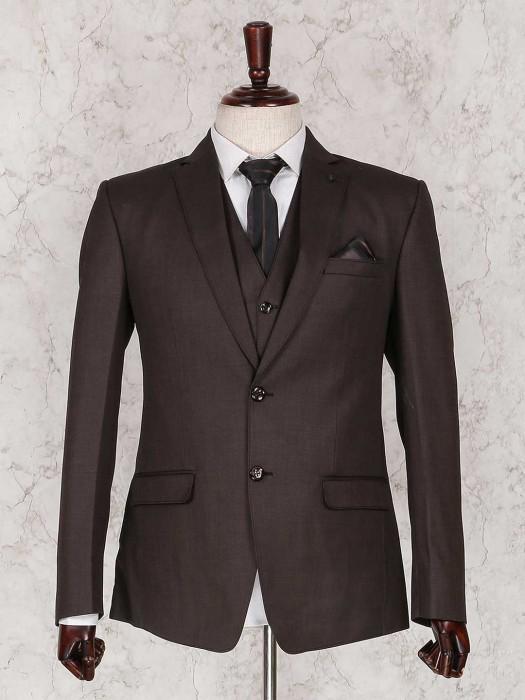 Brown Three Piece Solid Coat Suit