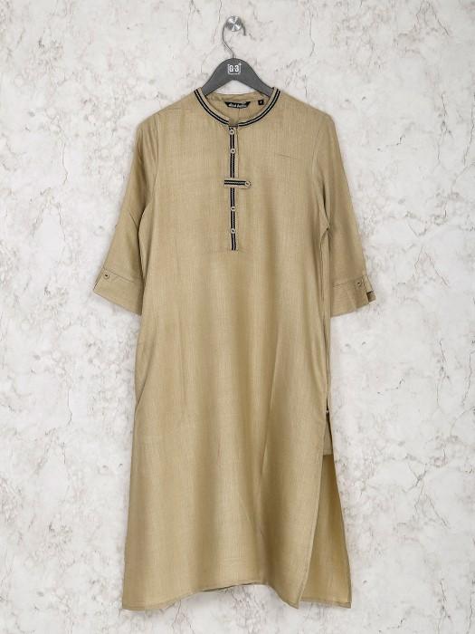 Casual Wear Beige Solid Cotton Kurti