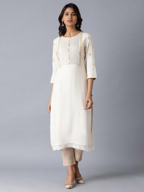 W Casual Wear Cotton Cream Kurti