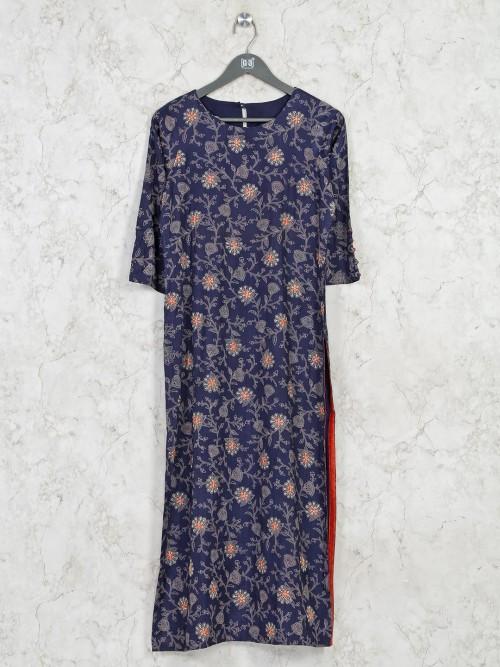 Casual Wear Cotton Navy Printed Kurti