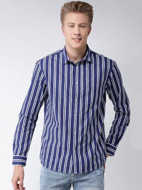 Celio Royal Blue Stripe Casual Shirt