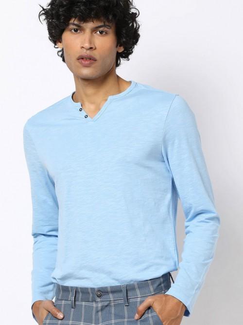 Celio Sky Blue Solid Henley Neck T-shirt