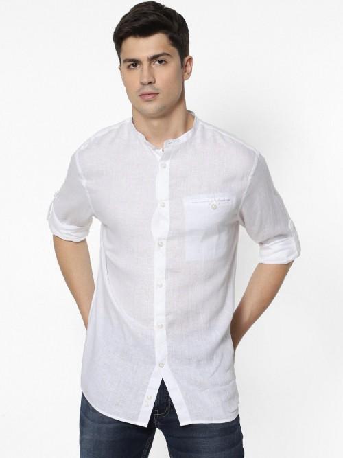 Celio Solid White Linen Casual Shirt