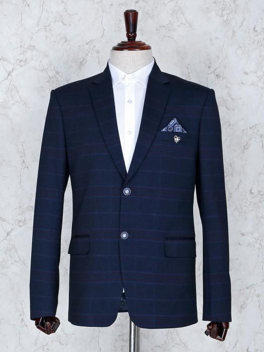 Checks Pattern Navy Hue Terry Rayon Blazer