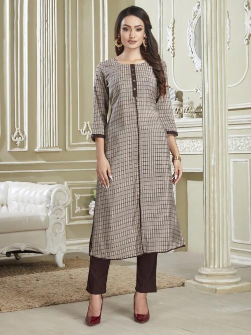 Checks Printed Beige Cotton Punjabi Suit
