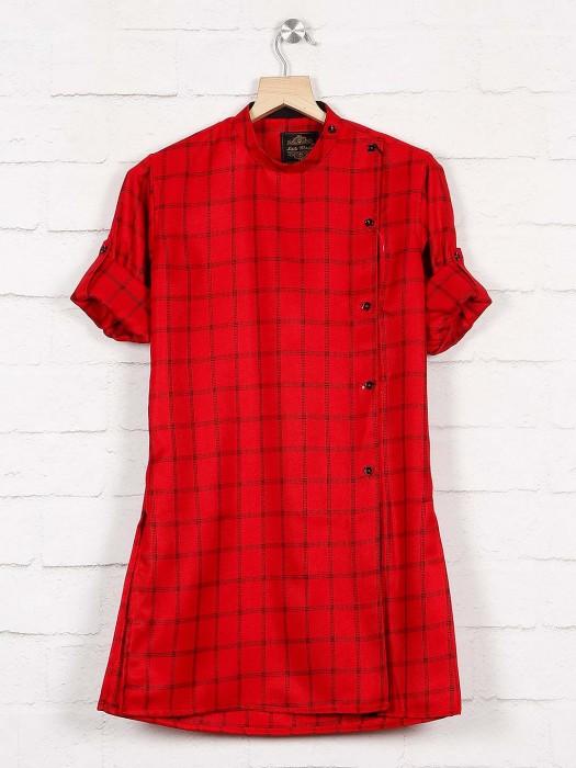 Checks Red Hue Cotton Fabric Kurta