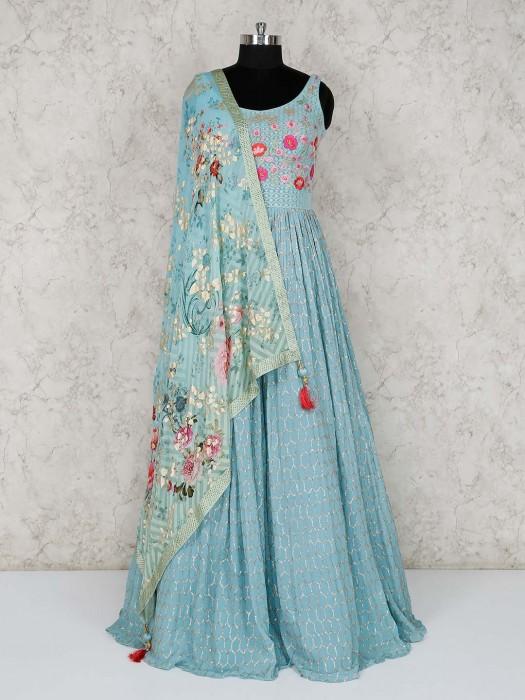 Chiffon Blue Floor Length Anarkali Suit