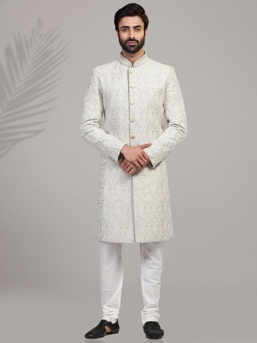 Chikan Embroidered Grey Silk Sherwani