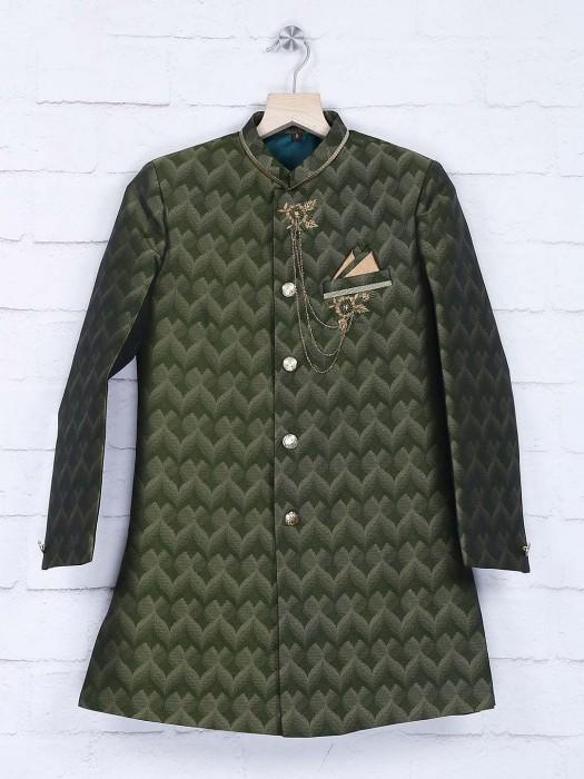 Chinese Neck Pattern Green Silk Indo Western