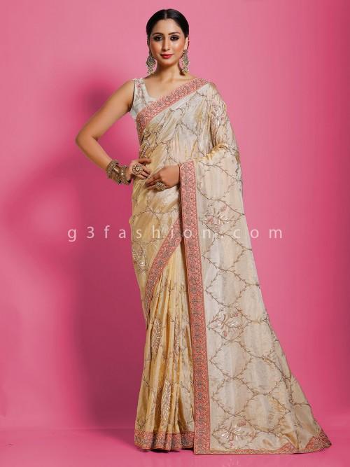 Classic Beige Pure Banarasi Tissue Silk Designer Saree