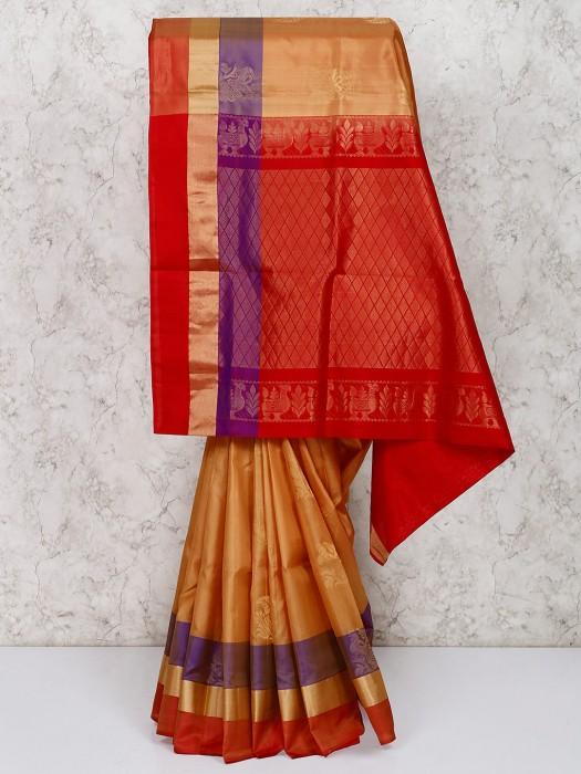 Classic Orange South Silk Saree