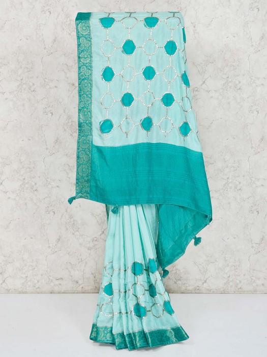 Classic Light Blue Semi Silk Saree