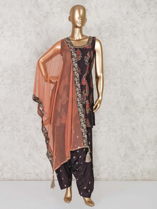 Coffee Banarasi Silk Party Punjabi Patiala Suit