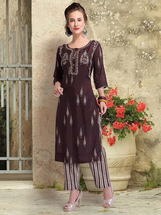 Coffee Brown Cotton Silk Festive Wear Punjabi Salwar Suit