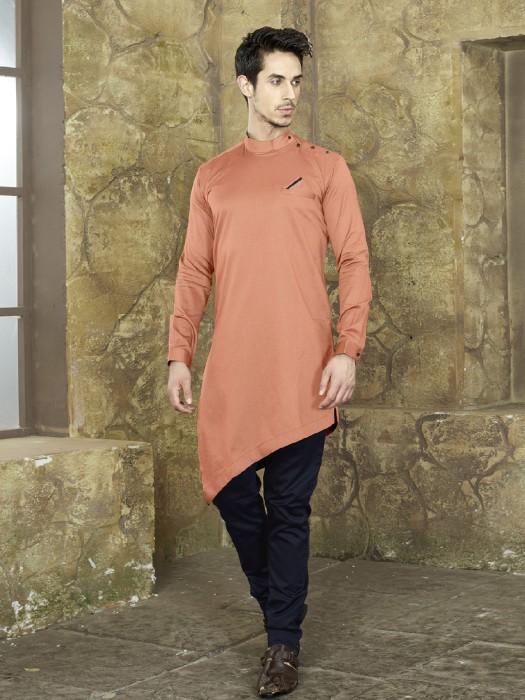 Coral Peach Cotton Fabric Kurta Suit