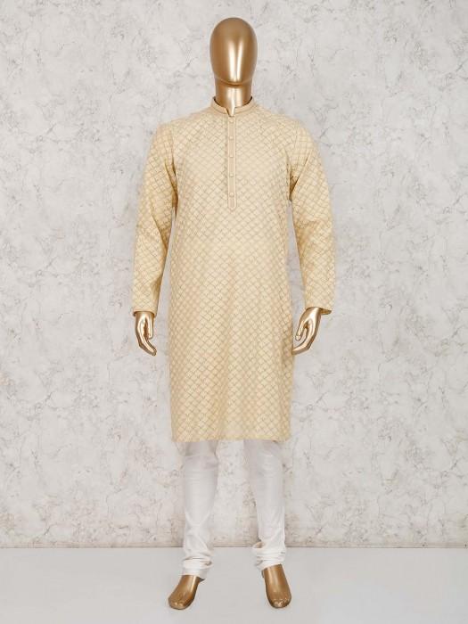 Cotton Beige Lucknowi Work Kurta Suit