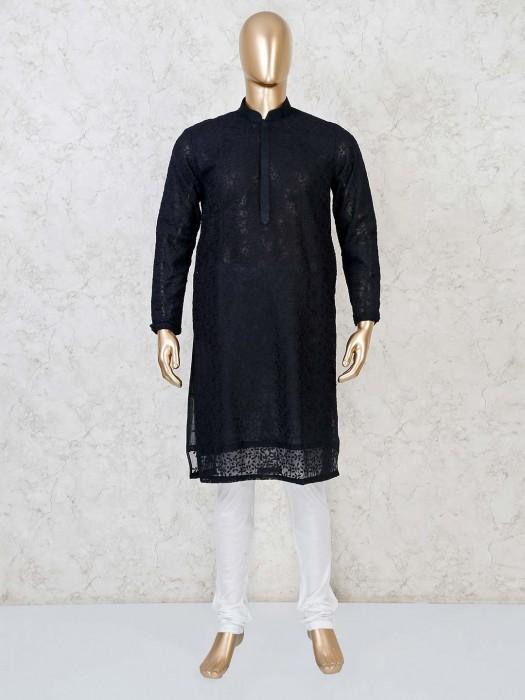 Cotton Black Kurta With Churidar