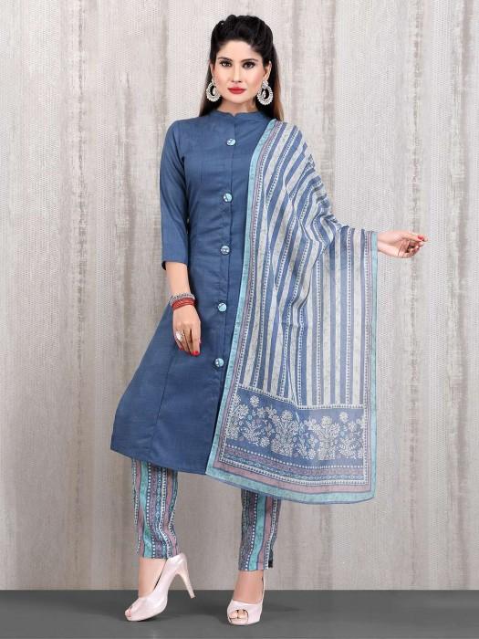 Cotton Blue Casual Wear Punjabi Straight Cut Pant Suit