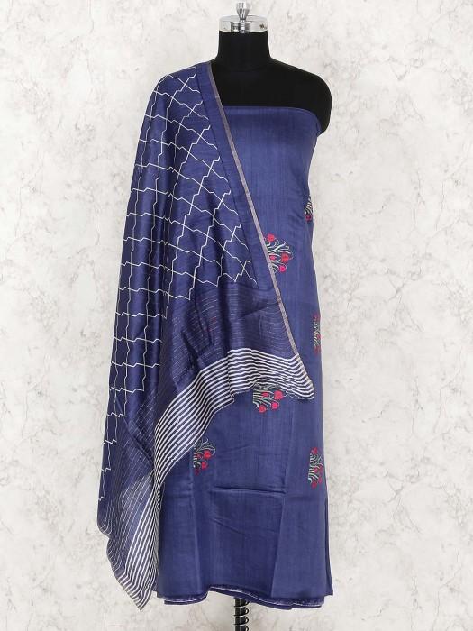 Cotton Fabric Blue Color Punjabi Unstitched Dress Material