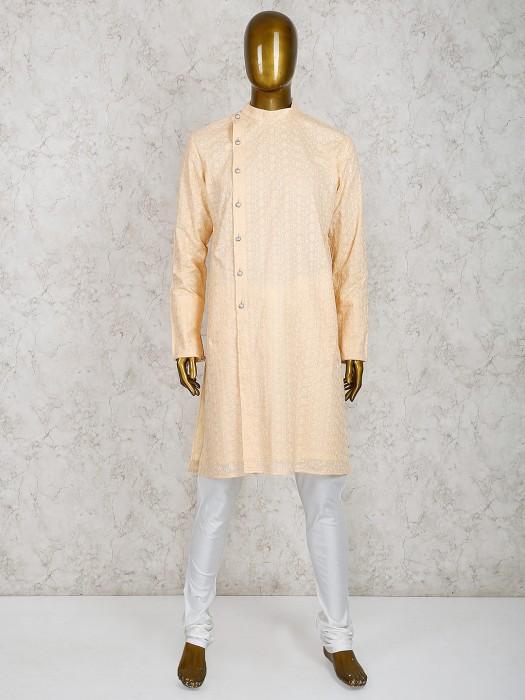 Cotton Fabric Peach Hue Kurta Suit