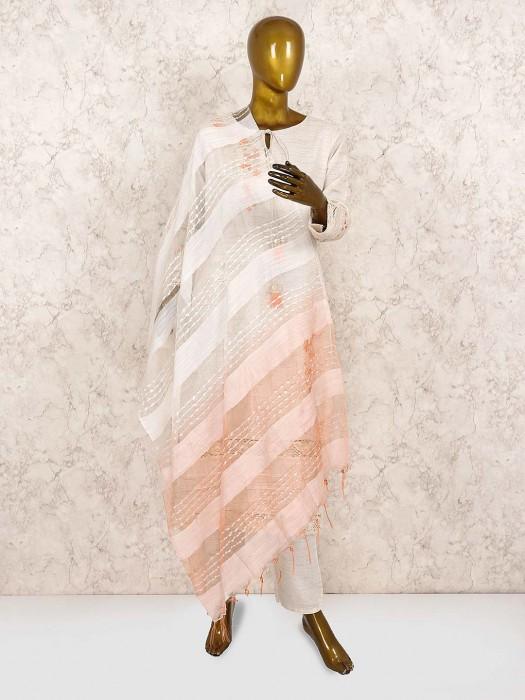 Cotton Fabric Punjabi Salwar Suit In Off White
