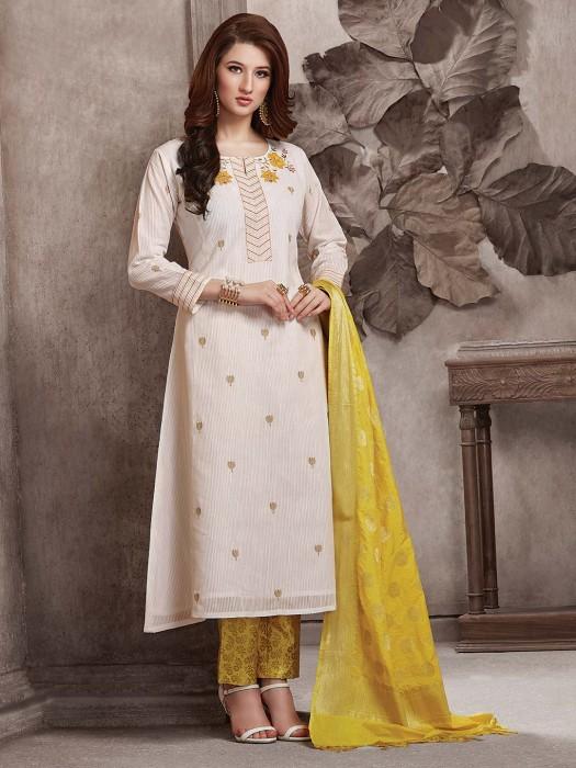 Cotton Fabric Punjabi Salwar Suit In White Color