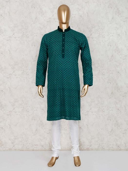 Cotton Green Stand Collar Kurta Suit
