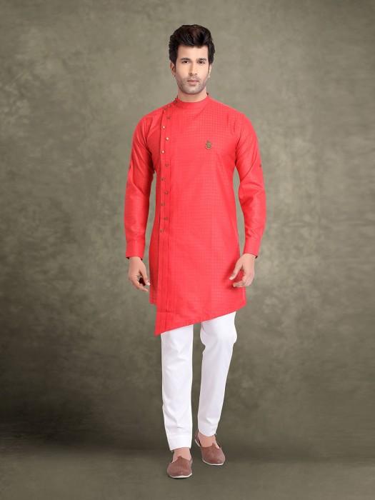 Cotton Jacquard Red Bandhgala Collar Kurta Suit