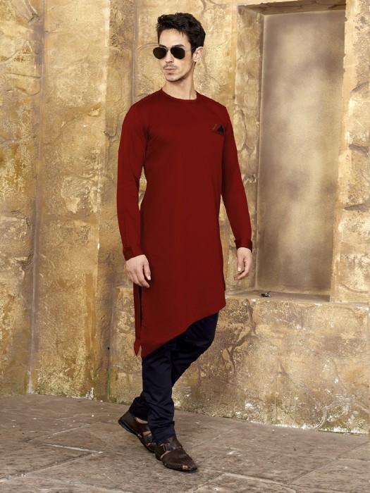 Cotton Kurta Suit In Wine Maroon Color