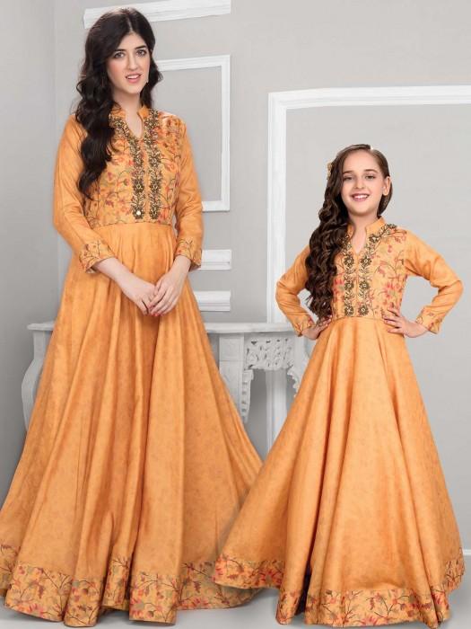 Cotton Silk Mother Daughter Anarkali Suit In Mustard Yellow