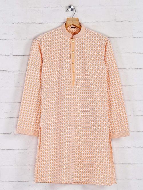Cotton Orange Kurta Suit In Festive Wear