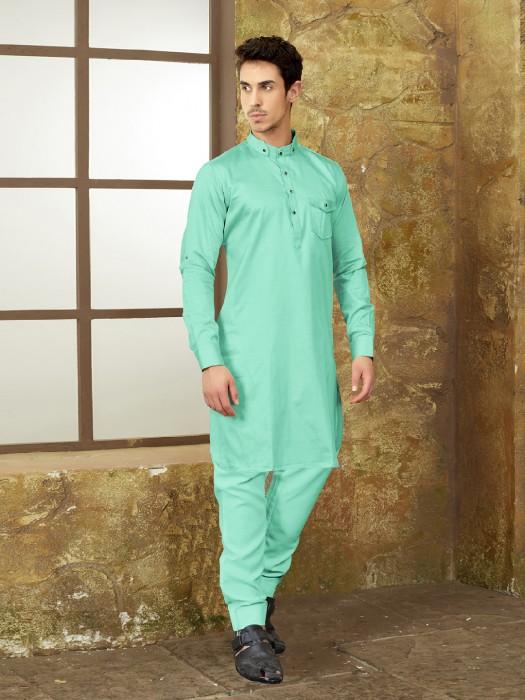 Cotton Pastle Green Pathani Suit