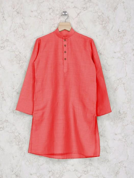 Cotton Peach Party Wear Kurta Suit