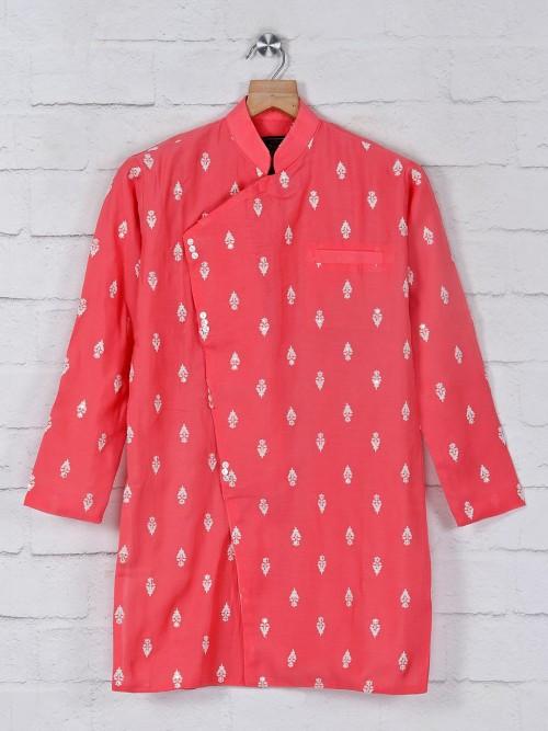 Cotton Pink Kurta Suit In Festive Wear