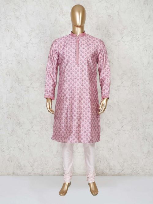 Cotton Pink Printed Full Sleeves Kurta Suit