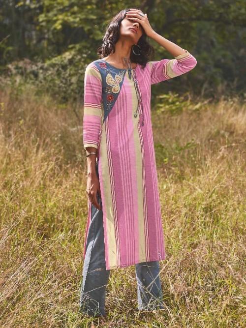 Cotton Pink Regular Wear Kurti