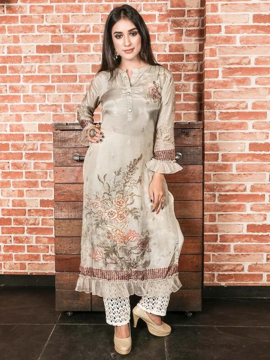 Cotton Silk Beige Color Festive Kurti
