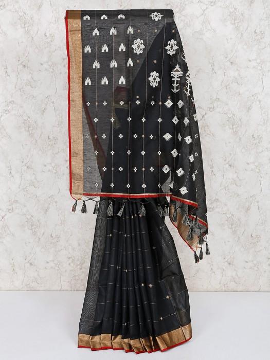 Cotton Silk Black Festive Saree