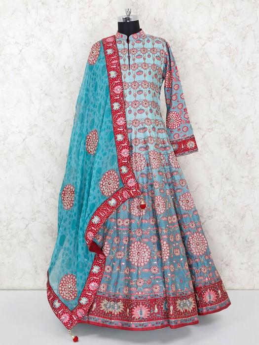 Cotton Silk Blue Anarkali Suit