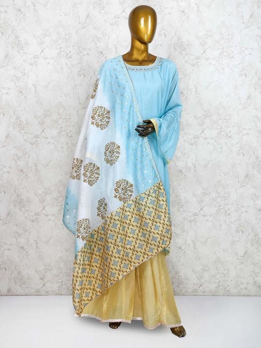 Cotton Silk Blue Hued Punjabi Palazzo Suit