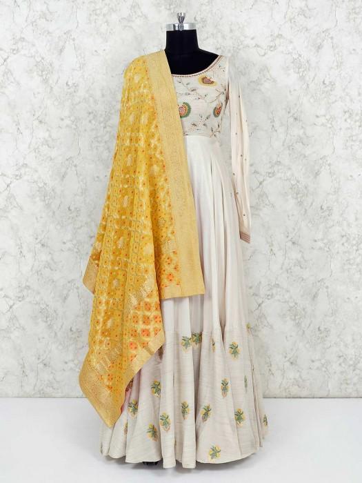 Cotton Silk Cream Floor Length Anarkali Suit