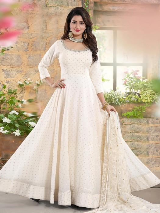 Cotton Silk Cream Round Neck Anarkali Suit