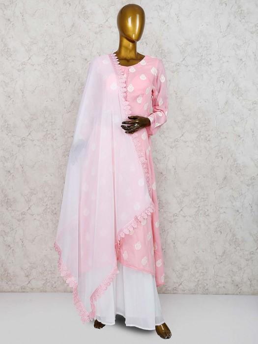 Cotton Silk Fabric Festive Pink Hue Punjabi Palazzo Suit