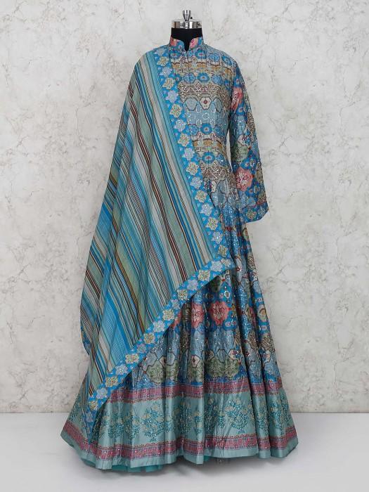 Cotton Silk Fabric Printed Floor Length Anarkali Salwar Suit