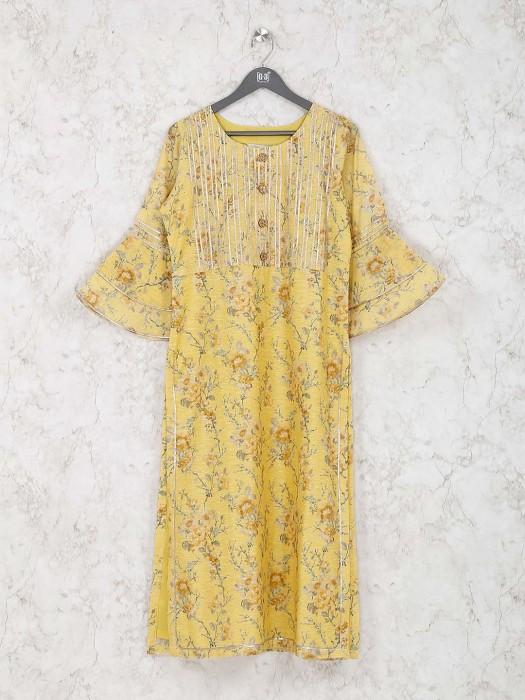 Cotton Silk Fabric Yellow Hue Printed Kurti