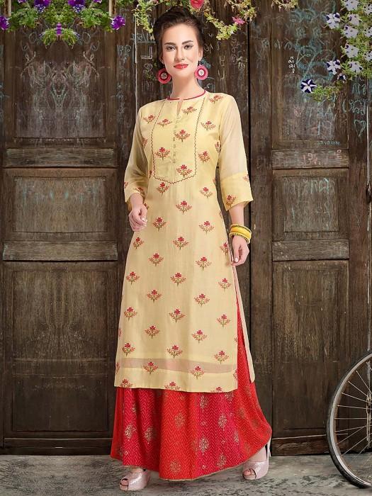 Cotton Silk Fabric Yellow Hue Punjabi Sharara Suit