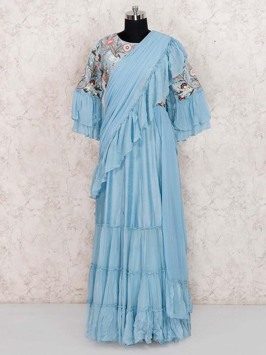 Cotton Silk Festive Wear Designer Blue Color Long Salwar Suit